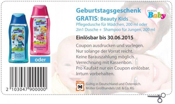 Müller Bundesweit und Österreich Beauty Kids Pflegedusche für Mädchen 200ml, oder 2in1 Dusche+Shampoo für Jungen 200ml