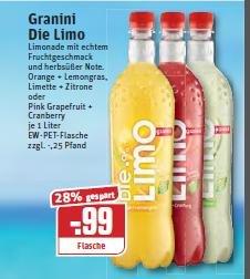 Granini die Limo 1 Liter im Rewe für 0,49-0,59 Cent je Flasche