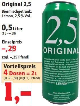 [Thomas Phillips] 2,5 Original Biermischgetränk ab 0,25€ die Dose