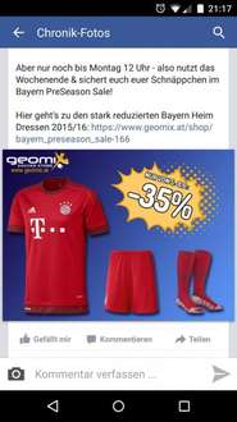 Neues Bayern München Trikot 2015  35% billiger