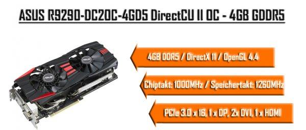 ASUS R9 290 4 GB Grafikkarte - 268,- € inkl. Versand abzgl 35,- € Cashback = 233,- €
