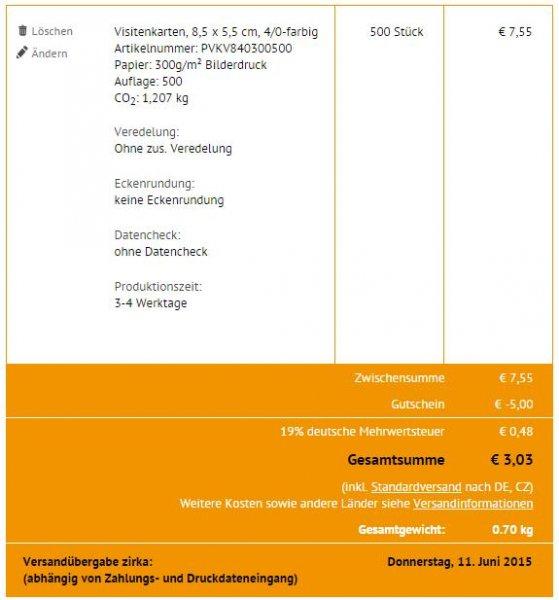 500 Visitenkarten Einseitig (4/0-farbig) für 3,03€ inkl. Versand! diedruckerei.de (Gutschein einmal nutzbar pro Kunde)