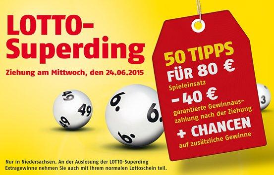 [lokal] Niedersachsen Lotto Superding | 50 Tipps für effektiv 40€