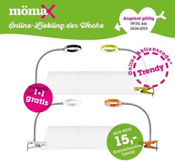 [moemax.de] LED-Klemmleuchte Trendy für 15 € + eine Klemmleuchte Gratis