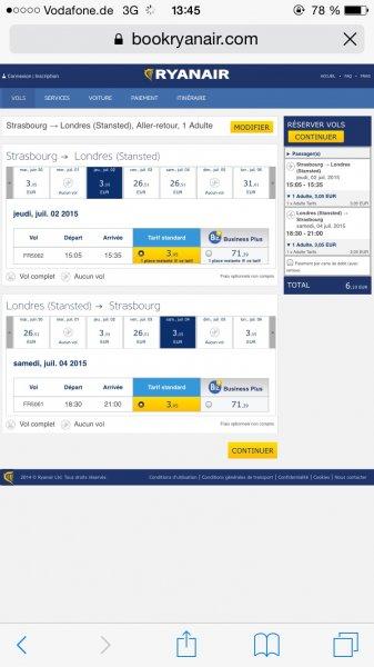 Flug von Straßburg nach London (STN) für 6.08€ Hin und Zurück mit Ryanair
