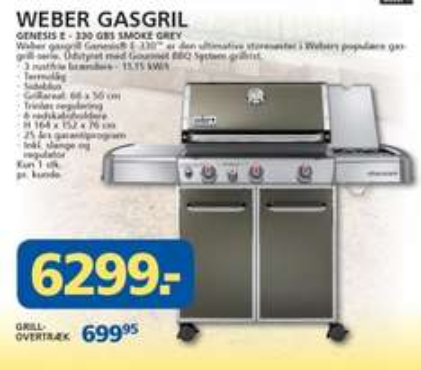 Weber Genesis E-330 GBS Gasgrill (GRENZDEAL DK, LOKAL)
