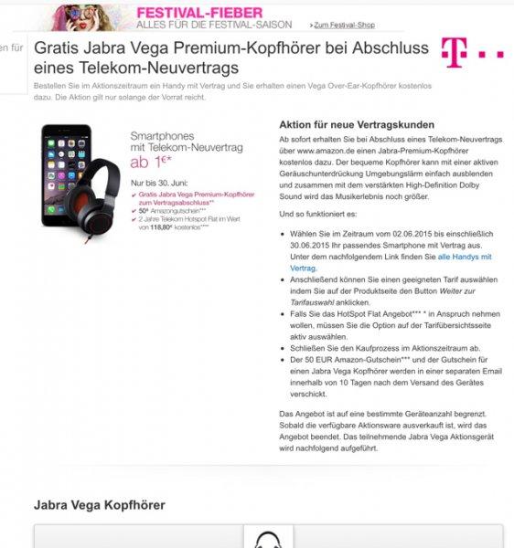 Telekom Mobilfunkneuvertrag bei Amazon / Jabra Vega gratis + 50€ Gutschein von Amazon z.B Iphone 6 64 ab 49€