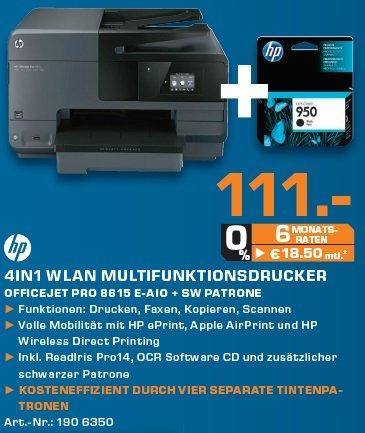 Saturn Berlin/Potsdam HP Multifunktionsdrucker OfficeJet Pro 8615 + 2te schwarze Patrone für 111 Euro