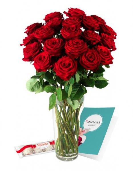 Miflora: 15 rote Rosen für 14,95 €, 20 Rosen für 19,95 € plus Raffaelo, KEINE Versandkosten