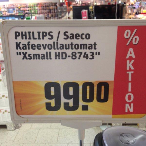 [Rewe Taunusstein Hahn] Kaffeevollautomat Phillips Saeco HD 8743 xsmall