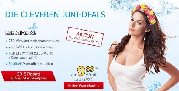 [o2/eplus] DeutschlandSIM LTE All-in XL, Tel 250, Sms 250, 1GB LTE, 9,99€ mtl. kündbar