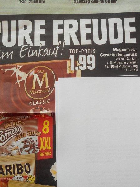 Cornetto Eis XXL Big Pack 1,99€ das sind nur 25 Cent pro Stück und Magnum auch 1,99€ bei Edeka Rhein Ruhr