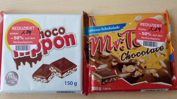 (Lokal) Müller Neu Isenburg: Mr. Tom Schokoladentafel 0,59€ & Nippon Schokoladentafel 0,64€ 50 % Rabatt mit MHD 07/2015