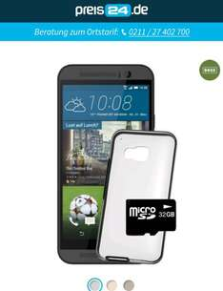 HTC M9 36€mtl. mit ADAC + Gratis HTC Hardcover + 32 GB microSD Karte BaseVertrag 2J. 864€