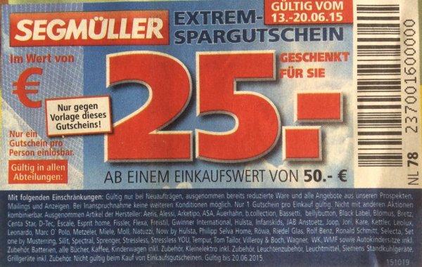 Segmüller Extrem-Spargutschein Gutschein 25€ ab 50€