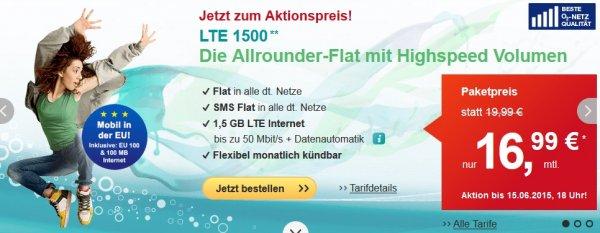 [O2/Eplus Netz] HelloMobil LTE 1500, Telefonie Flat, Sms Flat, 1,5GB LTE inklusive 50MBit/s, EU weit 100Min/SMS + 100MB für 16,99€ mtl. Kündbar