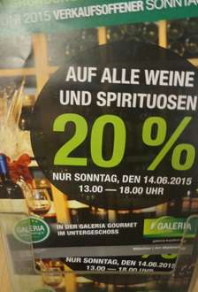 Kaufhof Marienplatz München 20% auf Wein und Spirituosen