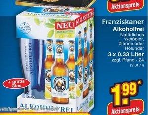 [lokal] Franziskaner Alkoholfrei Holunder oder Zitrone 3er-Pack mit Weißbierglas für 1,99€ @ netto ohne Hund