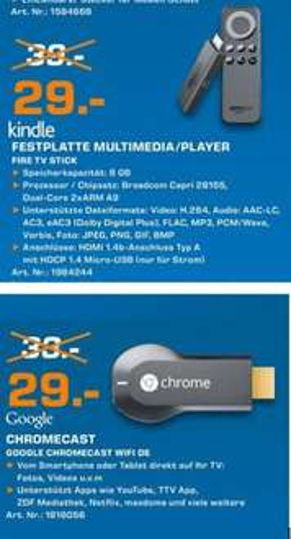 [Lokal Saturn Hagen & Iserlohn] Amazon Fire TV Stick und Google Chromecast für je 29,-€
