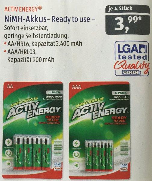 [ALDI SÜD ab 25.6.15] ACTIV ENERGY® NiMH-Akkus - Ready 2 use!