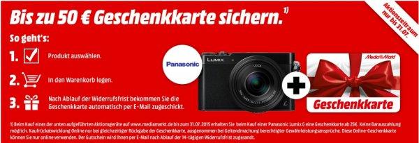 @MediaMarkt.de -  Panasonic Lumix Aktionsmodell kaufen und bis zu 50€ Geschenkkarte dazu erhalten