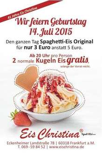 [Regional Frankfurt] 2 Kugeln Eis gratis bei Eis Christina am 14. Juli