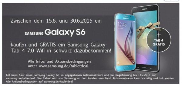 Samsung Galaxy S6 32 GB im o2-All-net-Flat-Vertrag (2 Jahre) mit 10 GB Traffic-Volumen, Auslandsoption & Galaxy Tab 4 für umgerechnet nur 42,08€/monatlich bei Handy-Deutschland!
