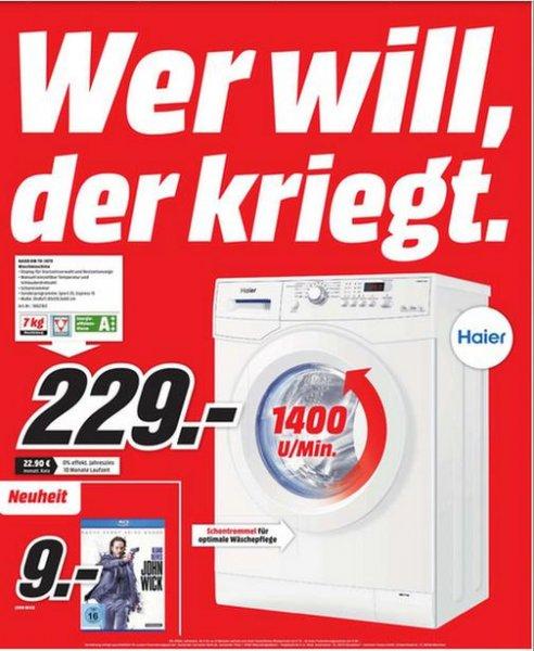 [Lokal Chemnitz] Haier HW70-1479, 7 kg Frontlader Waschmaschine für 229,00€ @ MediaMarkt Chemnitz