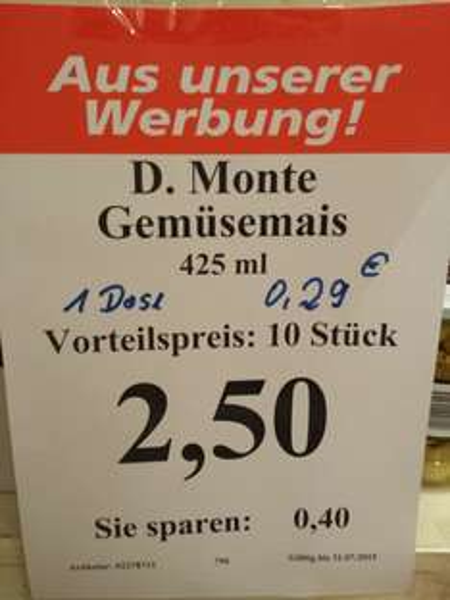 10x Delmonte junger Gemüse Mais (0,25€/Dose) - Thomas Philipps