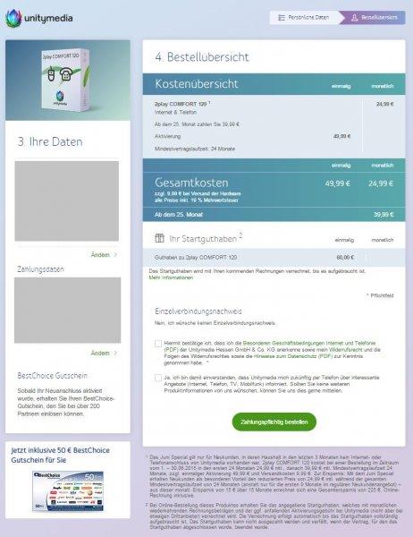 Unitymedia: 2play COMFORT 120 für effekt. 18,95€/Monat mit qipu