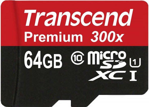 Transcend Premium Class 10 microSDXC 64GB Speicherkarte mit SD-Adapter (UHS-I, 45Mbps Lesegeschwindigkeit) Amazon Blitzangebot für 23,99€ @amazon.de