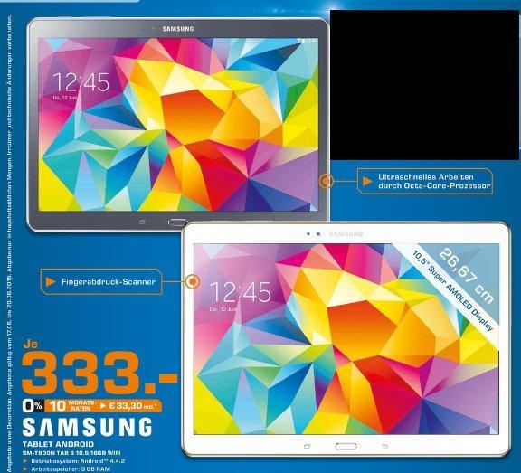 [Lokal Saturn Stuttgart, Esslingen und Leonberg ] Samsung Galaxy Tab S 10.5 (16GB) WiFi in Weiß oder Grau für 333,-€