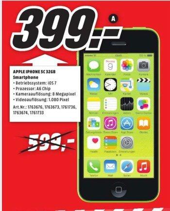 [Lokal Mediamarkt Recklinghausen] Apple iPhone 5C 32GB in verschiedenen Farben für 399,-€