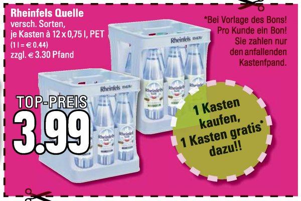 [LOKAL HS] Edeka 2 Kisten Rheinfels Quelle Wasser verschiedene Sorten für 3,99 zzgl. Pfand (24 Flaschen à 0,75ml) gültig bis zum 20.06