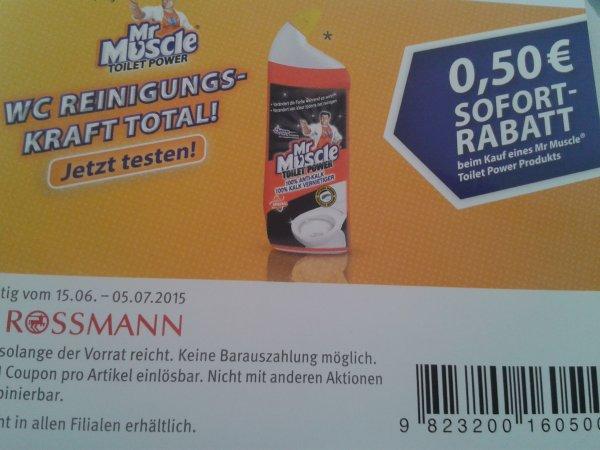 (Rossmann ) Mr muscle Toilettenreiniger 0,50€Coupon (von scondoo gibt es auch noch dazu -0,50€)
