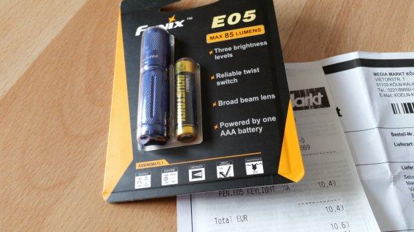 """[Preisfehler? bei MM Online] Fenix E05 """"2014"""" mit 85 Lumen - AAA Taschenlampe"""