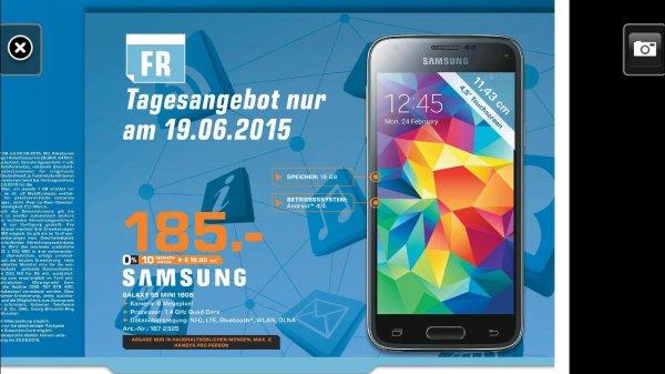 (Lokal Saturn Berlin Steglitz) Samsung Galaxy S5 Mini für 185 Euro als Tagesangebot am 19.06.2015