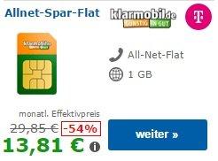 TELEKOM-Netz 14,85€ monatlich - Vertrag 24 Monate 1GB HSDPA+ und ALLNET FLAT