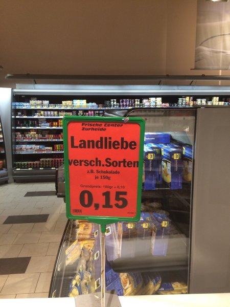 Lokal Edeka Oberhausen: Landliebe Sahnepudding (MHD!) vanille/schoko 15 Cent (6 Becher evtl. ganz umsonst)