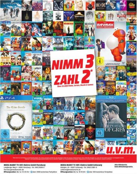 [Lokal Mediamarkt Flensburg und Schleswig] Nimm 3 zahl 2 Aktion. Gültig für alle Filme,Serien,Musik und Games