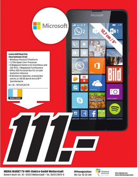 [Lokal-Mediamarkt Weiterstadt] Microsoft Lumia 640 Dual-SIM Smartphone 12.7 cm (5 Zoll) 1.2 GHz Quad Core 8 GB 8 Mio. Pixel Windows® Phone OS 8.1 für 111,-€