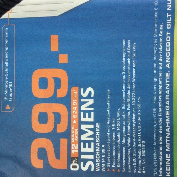 (event. Bundesweit Saturn) Siemens Waschmaschine WM14E32A