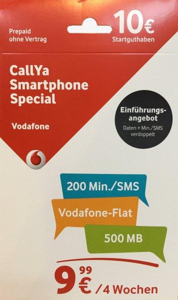CallYa Karte mit Smartphone Special Tarif - 1. Monat schon inklusive! 4,99€ ohne Versandkosten!