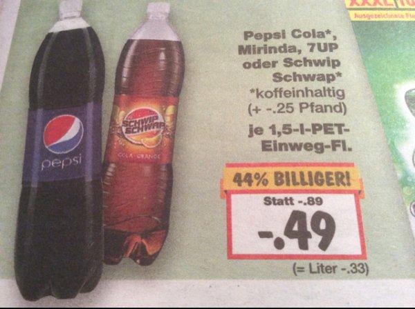 [Kaufland Landstuhl] 1,5 Liter Pepsi, Schwip-Schwap, Mirinda und 7up