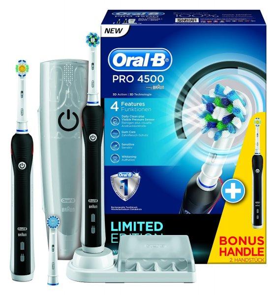 Braun Oral-B Pro 4500 elektrische Zahnbürste + 2. Handstück + Reiseetui für 73,99€ @ Amazon.de