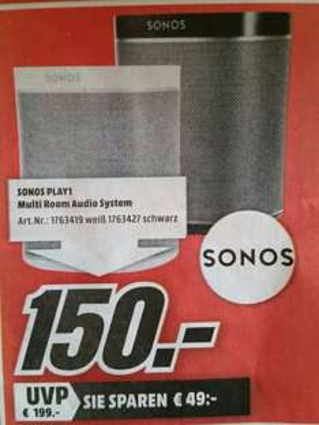 Sonos Play 1 Lautsprecher ( Lokal MM Neubrandenburg )