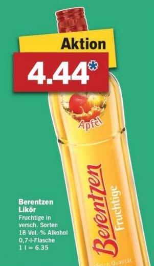 [Lidl/Offline] Berentzen versch. Sorten für 4.44€