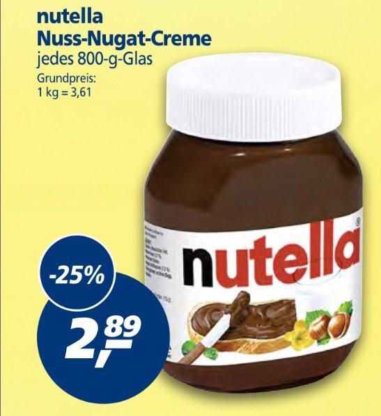 (Real) Nutella 800g Glas für 2,89 EUR (evtl. BahnCard-Aktionsgläser vorhanden)