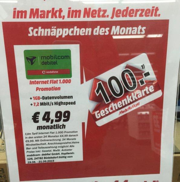 1GB Daten im Vodafone Netz rechnerisch 0,83€ HH-Hummelsbüttel