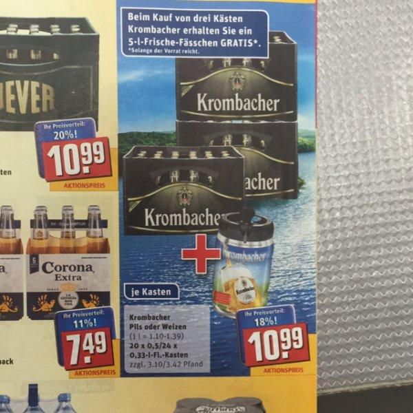 Rewe   Krombacher 20/24er für effektiv 6,83€/Kiste + 5L Fässchen gratis (regional ? / Paderborn/Bad Driburg)